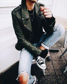 Chucks + moto jacket.