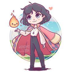 No photo description available. Cute Disney Drawings, Cute Animal Drawings, Kawaii Drawings, Cute Drawings, Studio Ghibli Art, Studio Ghibli Movies, Anime Chibi, Kawaii Anime, Howl And Sophie