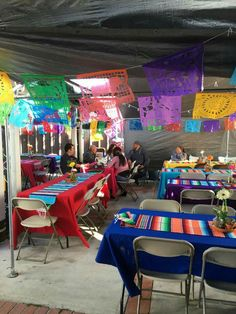 Colorful table covers with Sarape table runners