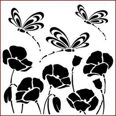 flower and butterfly stencils - Google Search