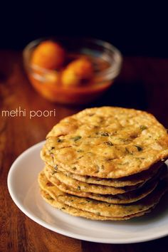 methi puri recipe with step by step photos. crisp, tasty and spiced pooris made with fenugreek leaves. these methi puris can be made and stored in an air-tight jar. you can also make this methi poori recipe with dry fenugreek leaves or kasuri methi. Aloo Methi Recipe, Methi Recipes, Roti Recipe, Jain Recipes, Savory Snacks, Yummy Snacks, Snack Recipes, Cooking Recipes, Veg Recipes