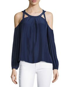 Shop Alana Long-Sleeve Cold-Shoulder Top, Navy from Ramy Brook at Neiman Marcus Last Call, where you'll save as much as on designer fashions. Ramy Brook, Cold Shoulder, Shoulder Tops, Neiman Marcus, Luxury Fashion, Vintage Fashion, Pullover, Long Sleeve, Model