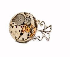 Steampunk Watch Movement Filigree Silver Plated by thelongwayround