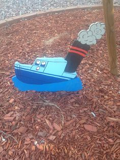 Sinking boat toy misfit.  From Rudoulph the Red Nosed Reindeer. Christmas yard decoration i made from plywood