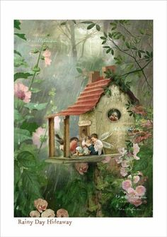 Fairy Print Mounted or unmounted or two Rainy Day Hideaway . Fairy Print Mounted or unmounted or two Fantasy Kunst, Fantasy Art, Funny Bird, Fairy Pictures, Fairytale Art, Beautiful Fairies, Flower Fairies, Fairy Art, Magical Creatures