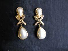 Wedding Bridal Jewelry Dangly Pearl Earrings by greenleafvintage1, $21.99