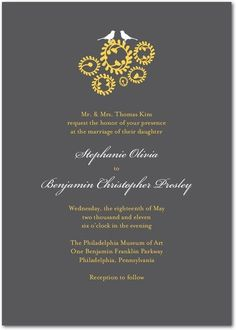 grey and chartreuse invitations