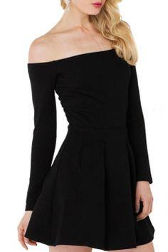 Off-the-Shoulder Black Long Sleeve Ruched A-line Dress