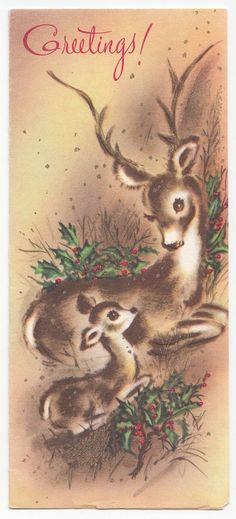 Vintage Greeting Card Christmas Mom & Baby Deer Reindeer Mid-Century
