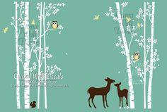 tree wall decal animal deer squarrel forest Vinyl wall decals wall decal nursery wall sticker children - 7tree birds deers Z147A Cuma