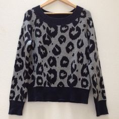 Gap Sweater Pullover style sweater in a navy and gray leopard design.  Worn once; in excellent condition.  55% nylon, 30% wool, 15% acrylic. GAP Sweaters