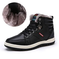 5c92811ca786 Mens Leather Snow Boots Lace Up Ankle Sneakers High Top Winter Shoes with  Fur Lining(Black 48)