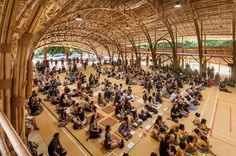 ThePanyaden International School is an education center located in Chiang Mai, Thailand built entirely from natural materials. Architecture firm Chiangmai Life recently designed a covered recreation hall for the school