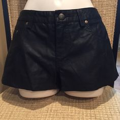 """Free People Shorts Free people faux leather. Few spots on the back that might come out.  Length is 9 1/2"""" inseam is 1 1/2  the waist is 15 1/2""""  super soft lining on the inside Free People Shorts"""