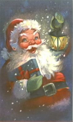 Vintage Christmas Card Smiling Santa Claus Lantern Present Snow Embossed Vintage Christmas Images, Old Fashioned Christmas, Christmas Scenes, Retro Christmas, Santa Christmas, Vintage Holiday, Christmas Pictures, Christmas Greetings, Christmas Time