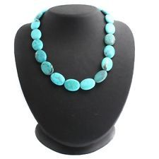 "Jay King Anhui Turquoise Platinum Plated 18"" Oval Bead Necklace"