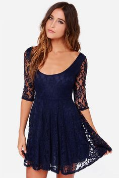 LULUS Navy Blue Lace Dress at LuLus.com! pricey but cute. i guess long sleeve dresses are my thing haha