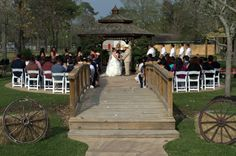Beautiful Ceremony in front of the gazebo @ TownHall Texas in The Woodlands / Conroe.  http://www.townhalltexas.com