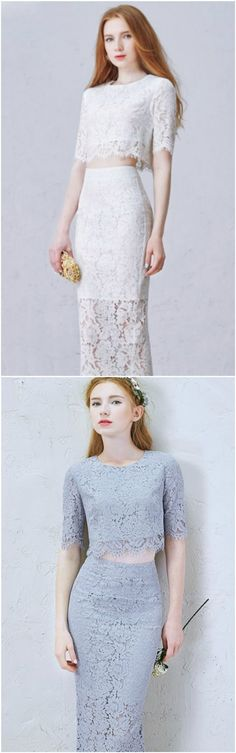 Elegant Two-Pieces Tea-Length Lace Dress for Wedding Reception. Two Colors Grey and White. Custom made-to-order formal dress by GemGrace. Multiple colors and all sizes available. Additional photos also available upon request. Short Lace Wedding Dress, Various Style.