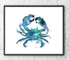 Watercolor Art Print Blue Crab, Watercolor Nautical Art, Ocean Art, Coastal Decor, Beach Decor  - F130