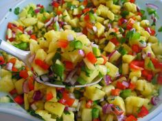 Sweet and Salty Salsa-  1/2 each cup feta, watermelon, red pepper, pineapple, cantaloupe, with 2 tbsp red onion and cilantro, splash lime. Serve with tortilla chips