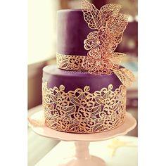 Sugar Lace Engagement Cake - I Sugar Coat It Metallic Wedding Cakes, Cool Wedding Cakes, Beautiful Wedding Cakes, Gorgeous Cakes, Pretty Cakes, Cute Cakes, Amazing Cakes, Lace Wedding, Purple Wedding