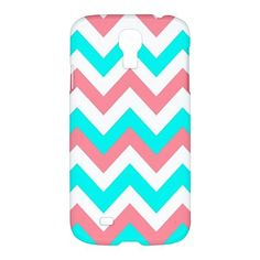 Pinky Pink Blue Cool Chevron Pattern Samsung Galaxy S4 S 4 Hardshell Case Cover