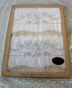 Vintage off white standard pillow Progress 1950's cases new in box imported NOS