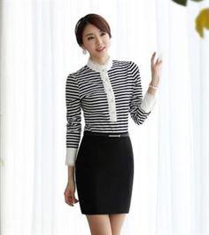 Women Fsahion Lace Stitching Stripe Long Sleeve T-Shirt