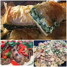 Spinach Pie, Grilled Sausage with Peppers & Onions, and Tortellini Salad with Gorgonzola & Pear. Tortellini Salad, Spinach Pie, Grilled Sausage, Peppers And Onions, Spanakopita, Pear, Grilling, Stuffed Peppers, Chicken