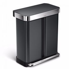 simplehuman 58 Liter / 15 Gallon Stainless Steel Rectangular Kitchen Step Trash Can Dual Compartment Recycler with Liner Pocket, Black Stainless Steel Recycling Station, Trash And Recycling Bin, Garbage Can, Trash Bag, Brushed Stainless Steel, Home Kitchens, Canning, Pocket, Separate