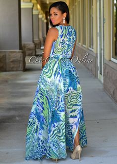 d008cc28274 Chic Couture Online - Angelina Turquoise Multi-Color Slit Paneled Maxi Dress