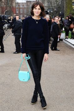 leather pants   light blue bag