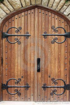 decorative church door with iron hinges - Decorative Doors