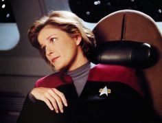 """The last time I heard the words """"my mind to your mind"""", I had a headache for two weeks. Captain Janeway, Kate Mulgrew, Star Trek Voyager, Fan Art, Shit Happens, Stars, Film, Question Mark, Characters"""