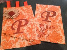 Burlap Garden Flags - personalized for you. This is just two designs of many. Email me at designathomemp@gmail.com for ordering details only $15.00 per flag  #burlap #flag #gardendecor