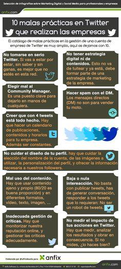 #Infografia #RedesSociales 10 malas prácticas en Twitter que realizan las empresas. #TAVnews