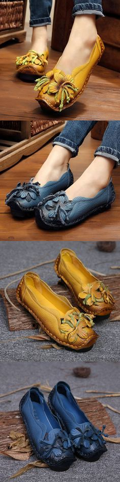 $26.46 Socofy Genuine Leather Handmade Flower Loafers Soft Flat Casual Shoes,Leather Flats, Women shoes,Vintage Leather Shoes,Handmade Shoes For Women