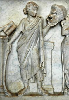 """Muse Thalia holding a comic mask - detail from the """"Muses Sarcophagus"""" representing the Muses and Their attributes. Marble first half of the 2nd century CE, found by the Via Ostiense - at the Louvre Museum"""