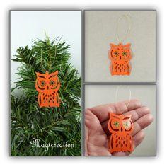 Hibou ou chouette en PVC orange à suspendre - Boutique www.magicreation.fr Pvc, Boutique, Crochet Earrings, Orange, Christmas Ornaments, Holiday Decor, Home Decor, Fir Tree, Owls