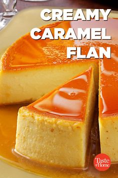 Creamy Caramel Flan The creamy texture of this flan will have you drooling.<br> A small slice of this impressively rich, creamy flan dessert goes a long way. What a delightful finish for a special meal or holiday celebration. Flan Dessert, Custard Desserts, Custard Recipes, Baking Recipes, Magic Custard Cake, Caramel Flan, Creme Caramel, Caramel Pudding, Snacks