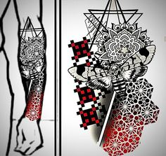 Forearm - Mandala, hexagonal pattern with Death's-head hawkmoth and sacred geometry, pixel pattern Tattoo Sketches, Tattoo Drawings, Body Art Tattoos, Tribal Tattoos, Sleeve Tattoos, Cool Tattoos, Celtic Tattoos, Geometric Tattoo Sleeve Designs, Tattoo Designs