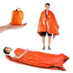 Price Description of Outdoor PE Sleeping Bag One Size tin film Lightweight Camping Emergency Camping Hiking Trip Bag Moisture Pad Sun Prote.