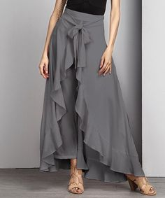 Another great find on #zulily! Charcoal Chiffon Tie-Waist Ruffle Palazzo Pants #zulilyfinds