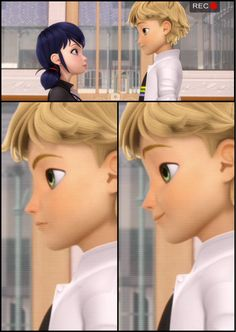"""Favorite Cat Noir Lady Bug Moments # 7: Everyone loved the """"almost kiss"""" in Horrificator. I LOVE that in the quick interlude between our Adrienette we see some serious insight in how Adrien feels for Marinette with Clue #2- if you look closely at Adriens face you can see the subtle nuances as his face goes from serious actor to adoring lover. #BeStillMyBeatingHeart #trueLove #theFeels #Ladrien #Miraculous #ladybug #Horrificator #ImNotScaredOfThatMonsterOfficerJones"""