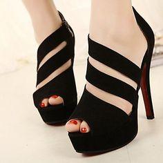 zapatos de las mujeres zapatos de tacón de aguja de tres topline correa de las sandalias peep toe del talón – USD $ 17.99