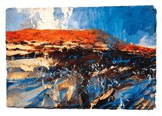David Tress Pembrokeshire landscape artist. Pastel Landscape, Landscape Artwork, Contemporary Landscape, Abstract Landscape, Abstract Geometric Art, Abstract Styles, Great Paintings, Impressionist Art, Tree Art