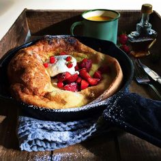Strawberry Cinnamon Dutch Baby Pancake recipe | Simple Bites