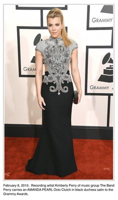 Kimberly Perry carrying an Amanda Pearl Octo Clutch to the 2015 Grammy Awards