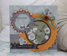 Follow Sarah's tutorial to make this fabulous birthday card using the Papermania Owl Folk collection.